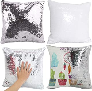 H-E 10pcs Sublimation Blank Magic Pillow Case Throw Pillow Covers Decorative Square Mermaid Pillowcase Cushion Cover Printing Both Sides 40x40 cm (Silver)