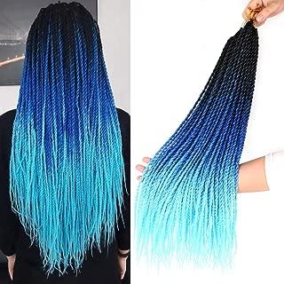 Ombre Senegalese Twist Crochet Hair 18inch 3packs Micro Twist Braids Synthetic Crochet Braiding Hair Extensions (T1b/Blue/Light Blue)