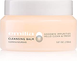 Emilia Facial Cleansing Balm– Anti Aging Makeup Cleanser With Red Algae, Jojoba, Olive, Almond, and Sesame Oil - Removes Makeup And Impurities– Paraben, SLS And Fragrance-Free Skin Care- 5.07 fl oz