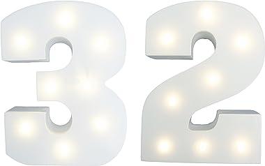 Peace & Thyme Jeu de chiffres lumineux - Chiffre 32 - Age 32 - Hauteur 15 cm