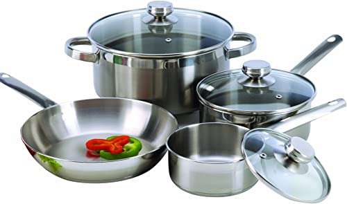 2021 ExcelSteel Stainless wholesale Steel sale Cookware Set, 7 Piece, Silver online sale