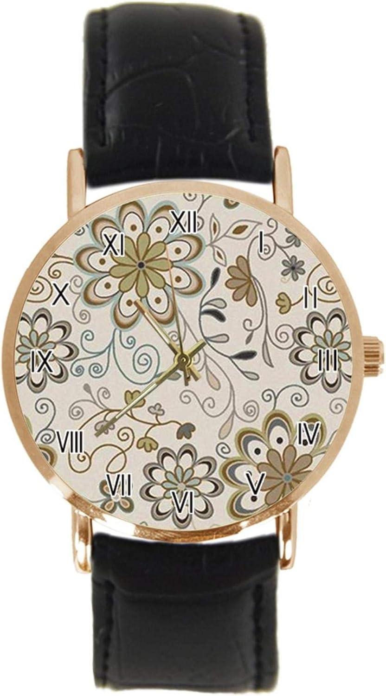 Reloj de Pulsera de Estilo Oriental con diseño de persano, clásico, Unisex, analógico, de Cuarzo, con Caja de Acero Inoxidable, Correa de Cuero