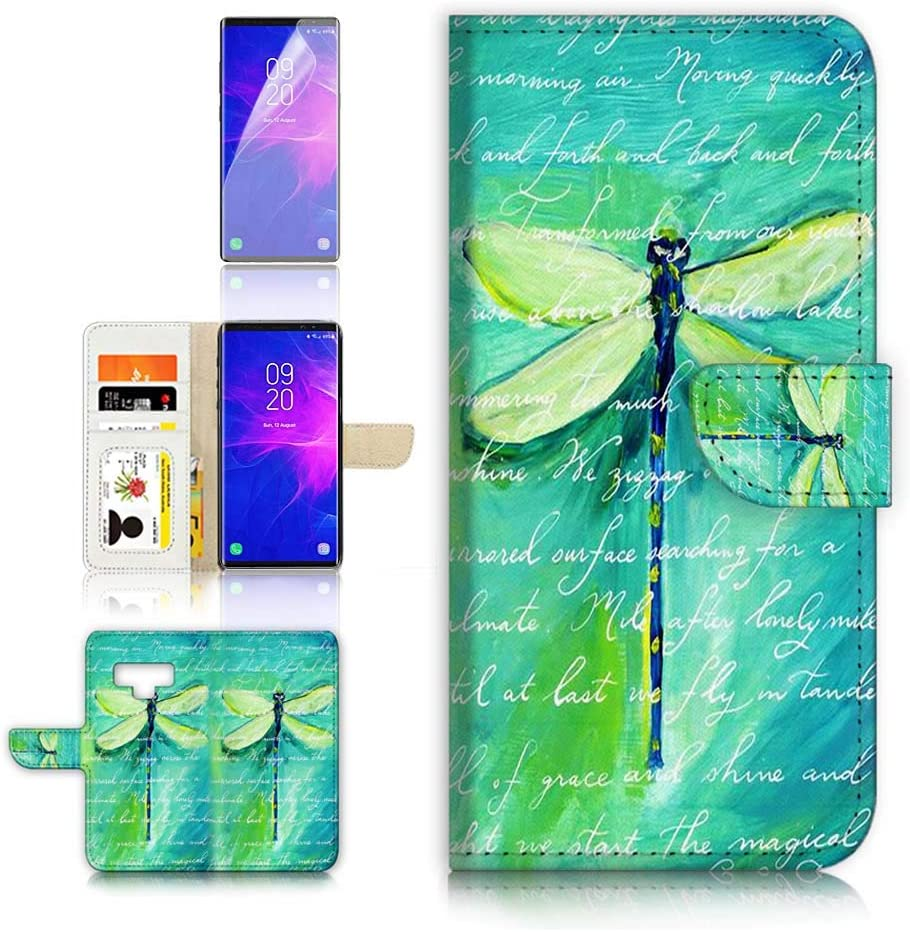 (for Samsung Note 9, Galaxy Note 9) Flip Wallet Case Cover & Screen Protector Bundle - A4215 Dragonfly