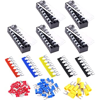 Glarks 70Pcs(5Sets) Terminal Block Set, 5Pcs 7 Positions 600V 15A Dual Row Screw Terminals Strip + 5Pcs Pre-Insulated Barrier Strips + 60Pcs Insulated Fork Wire Connector (7P+Fork Connector)