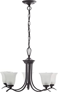 Ravenna Home Contemporary Modern Chandelier with 5 White Glass Light Shades - 26 x 26 x 40 Inches, Matte Black