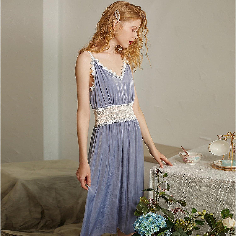 STJDM Nightgown,Sexy Lace Cut Out Night Dress Women Summer Stretchy Sleeveless Negligee Princess Lounge Sleep Dress Vintage M Purple