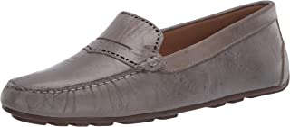 Driver Club USA Women's Leather Made in Brazil Perforated Penny Detail Driver Loafer, grey crush, 9.5 M US