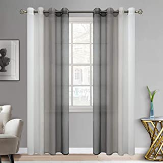 BGment Ombre Sheer Curtains Faux Linen Grommet Light Filtering Semi Sheer Gradient Window Curtain Pair for Bedroom Living Room, Set of 2 Panels (Each 52 x 95 Inch, Grey)