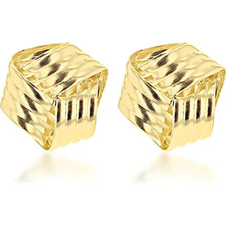 Carissima Gold 9ct Yellow Gold 8mm Ribbed Knot Stud Earrings