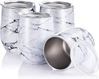 Skylety 4 Pack 12 Oz Unbreakable Triple-Insulated Stemless Wine Tumbler, Stainless Steel Wine Glass Cup with Lids, Drink-Ware Glasses for Wine, Coffee, Champagne, Cocktails and Beer (Marbling-1)