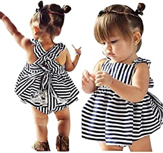 7617bec160 Toraway Neeborn Baby Girls Summer Sunsuit Backless Princess Dress + Brief Outfits  Clothes Set