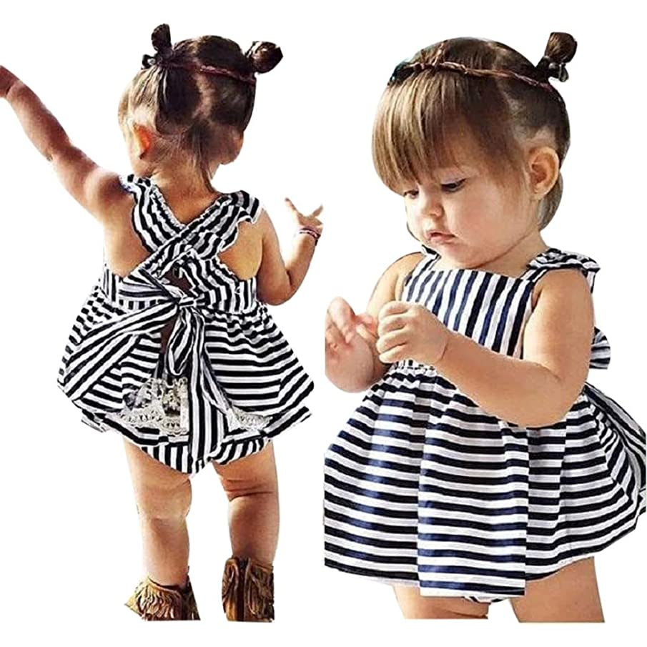 Toraway Neeborn Baby Girls Summer Sunsuit Backless Princess Dress + Brief Outfits Clothes Set