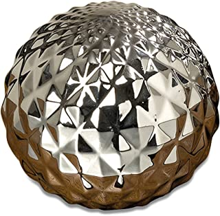 WHW Whole House Worlds Crosby Street Faceted Silver Ball, Disco Style Globe, Sphere, Bowl Filler or Free Standing Art, 6 Inches in Diameter, Glazed Ceramic