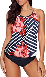 Dearlovers Womens Printed Summer Tankini Sets 3 Pieces Swimsuit Swimwear