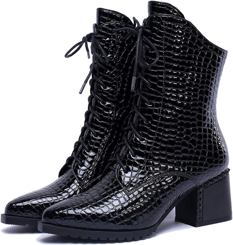 Patent läder skor skor skor High Square Heel Cross -slipsd Toe Zip svart Wine röd Mid Calf stövlar  märkeuttag
