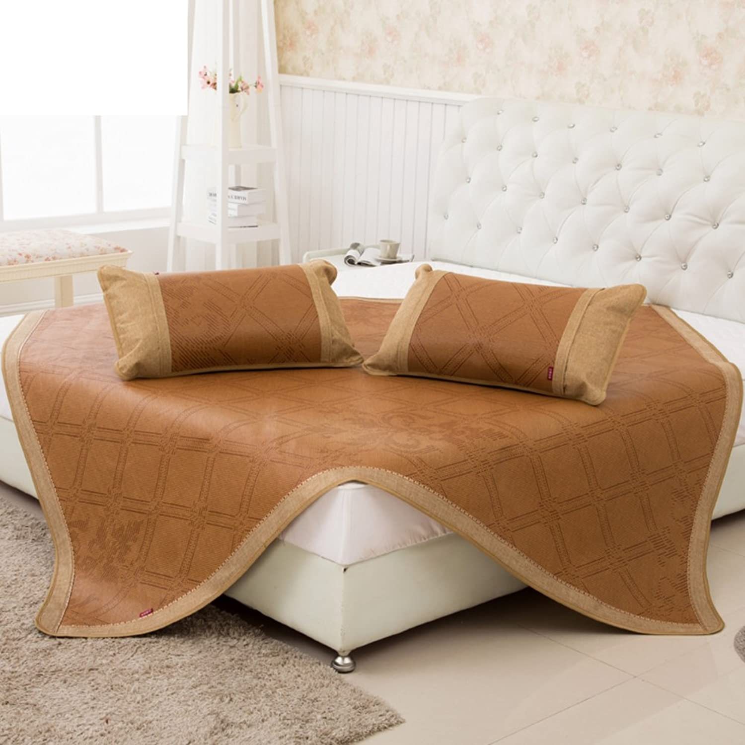 Summer Rattan Three-Piece Foldable Check Air Conditioning Soft Seat(No Pillowcase)-B Queen1