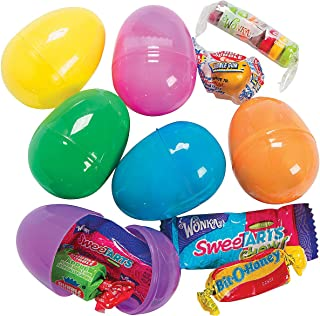 Fun Express - Candy Filled Bright Eggs (2dz) for Easter - Party Supplies - Pre - Filled Party Favors - Pre - Filled Plastic Containers - Easter - 24 Pieces