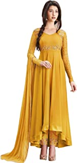 Aria Fabrics Women's Faux Georgette Semi-stitched Embroidered Anarkali Salwar Suit Material (Yellow, Free Size)