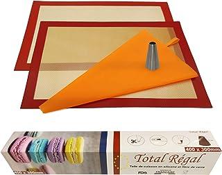 kit pâtisserie professionnel 2 tapis de cuisine silicone fibre de verre 40X30 anti adhérent certifié sans BPA ,1 poche réu...