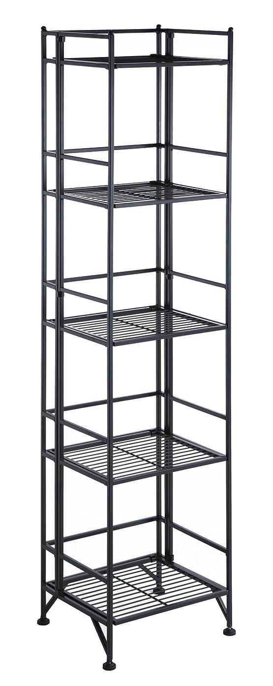 Convenience Concepts 8016B Designs2Go X-Tra Storage 5-Tier Folding Metal Shelf, Black