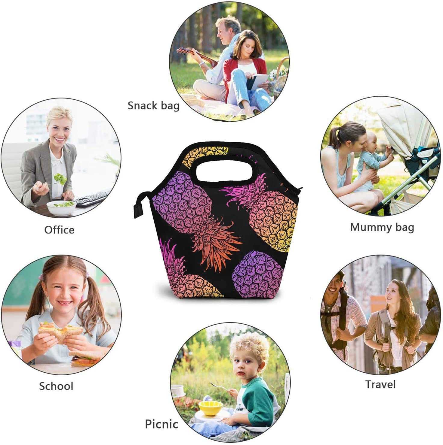 Leak Proof Cooler Bag for Work School Picnic LOKIDVE Mermaid Scales Insulated Lunch Bag Thermal Soft Reusable lunch Tote Bag