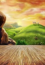 AOFOTO 5x7ft Photography Backgrounds Photo Backdrop Dreamy Pastoral Scenery Cartoon Painting Rosy Clouds Sheep Grass Hillside Wood Floor Props Video Studio Baby Kid Artistic Portrait Vinyl Wallpaper