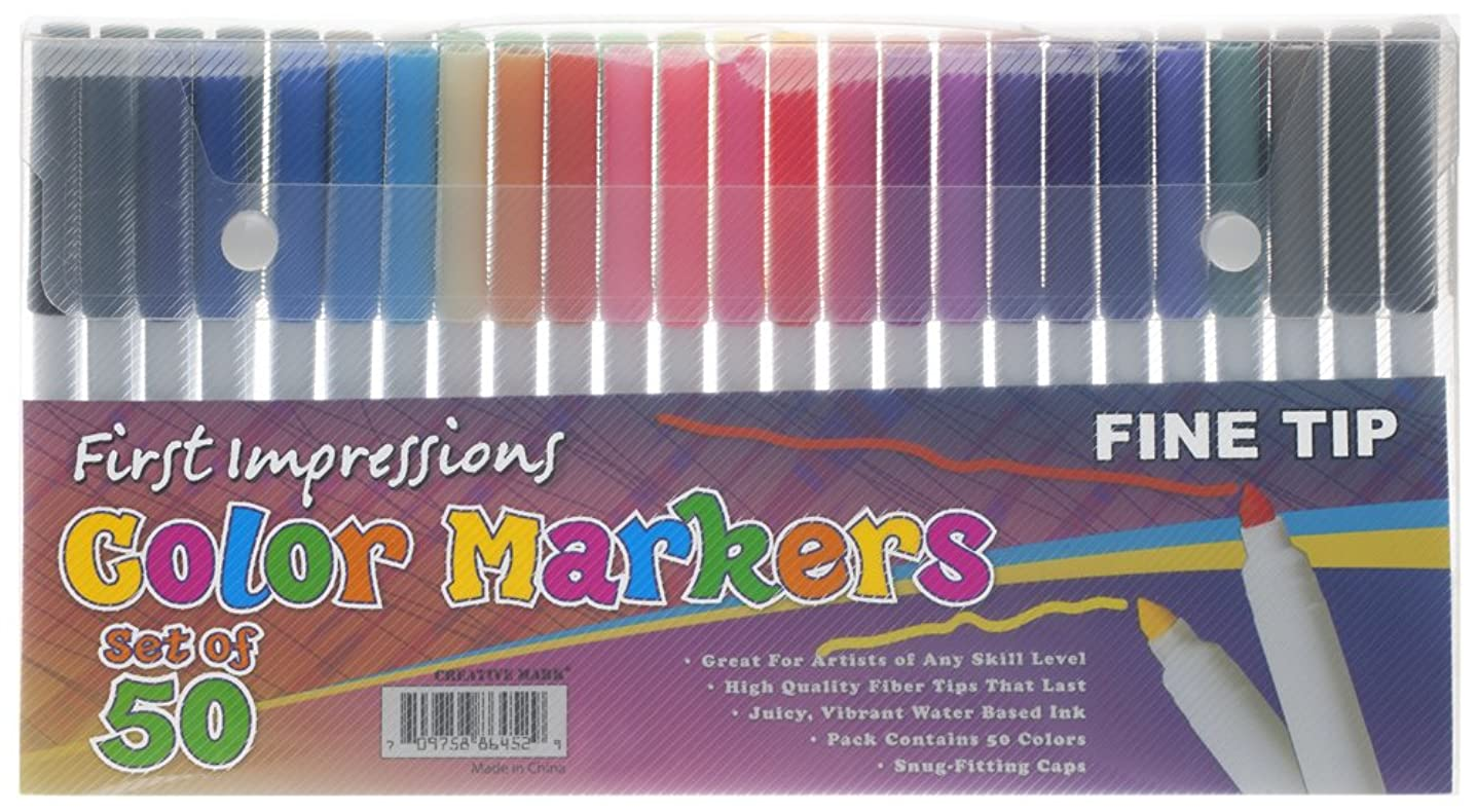 First Impressions Color Art Markers For Kids - High Quality Fiber Tips, Water-Based, Long-Lasting Ink Conical Nibs For Both Fine & Broad Strokes - [Fine Tip - Set of 50]