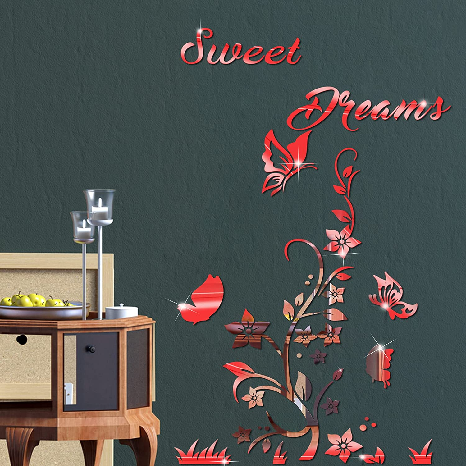 3D Acrylic Mirror Flower Sweet Dream D Decal Tampa Direct stock discount Mall Sticker Quote Wall