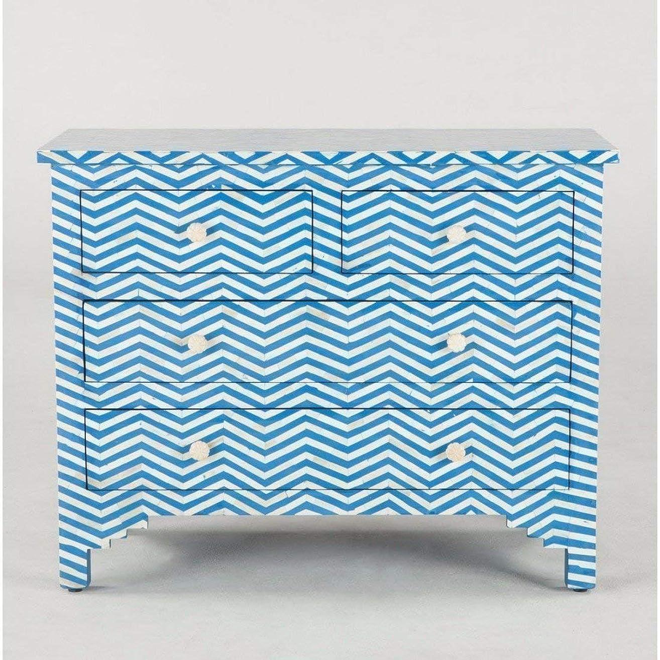 Macrame Art Modern Design Bone & Horn Inlay Epoxy Resin Rectangular Blue & White Drawer Set, Includes 4 Drawers With Wooden Holder, Rustic Finish