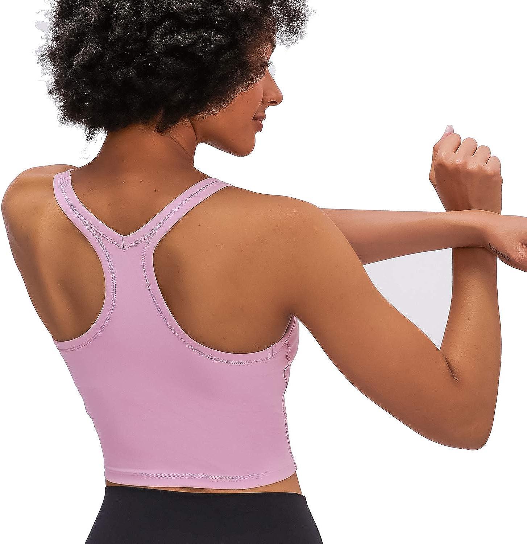EONHUA Womens Sports Bra Tank Tops Longline Racerback Crop Padded Bra Gym Fitness Workout Yoga Running