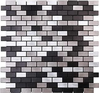 HomeyMosaic Black&Grey Subway Stripe Peel and Stick Tile Metal Backsplash for Kitchen Bathroom Stove Walls Self-Adhesive Aluminum Surface Metal Mosaic Tiles 3D Wall Sticker,Pack of 5 Tiles 12