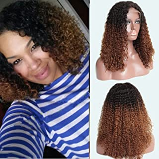 TopFeeling Ombre Kinky Curly Wigs Brazilian Short Human Hair Lace Front Wig Afro Curly Ombre Color Wigs Two Tone for Black Women