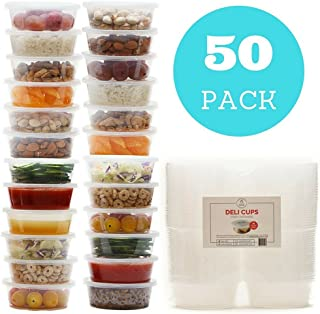 Plastic Food Storage Containers with Lids - Restaurant Deli Cups / Great for Slime, Party Supplies, Meal Prep and Portion Control - Leakproof and Microwave Safe - BPA Free (8 oz, Set of 50)