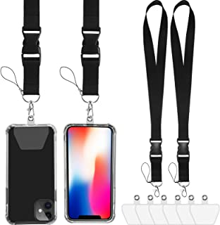 4 Pieces Nylon Phone Lanyard, Adjustable Phone Lanyard Neck Straps with 6 Adhesive Tabs, Detachable Cell Phone Strap with ...