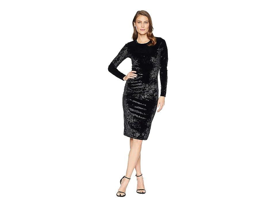 MICHAEL Michael Kors Panne Velvet Crew Long Sleeve Dress (Black) Women