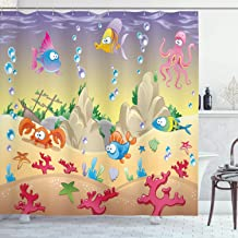 Ambesonne Underwater Shower Curtain, Kids Cartoon Design Funny Sea Animals Fishes Sunken Ship Coral Reef and Bubbles, Cloth Fabric Bathroom Decor Set with Hooks, 70