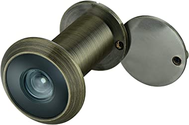 """TOGU TG2814YG-AB Brass UL Listed 220-degree Door Viewer with Heavy Duty Privacy Cover for 1-3/8"""" to 2-1/6"""" Doors, Ant"""