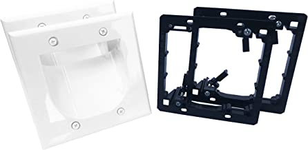 KCC Industries 2-Gang Recessed Low Voltage Cable Plate with Mounting Bracket +UL/CSA Listed Safe+ (2-Pack, White)