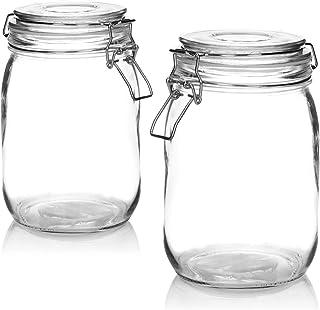 COM-FOUR® 2x bocal Mason avec clip de verrouillage - bocaux de stockage avec anneau en caoutchouc - bocal de stockage herm...