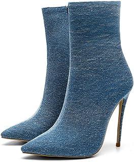 Enkellaarzen Vrouwen, Dames Denim Sexy Laarzen, Puntige Stiletto Hoge Hakken Damesschoenen,Light blue,41