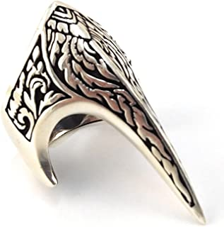 Fang Gothic Biker Retro 925 Stelring Silver Turkish Handmade Luxury Men's Thumb Ring
