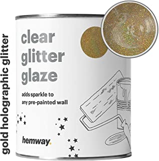 Hemway 1L Clear Glitter Paint Glaze for Pre-Painted Walls Acrylic, Latex, Emulsion, Ceiling, Wood, Varnish, Dead flat, Matte, Soft Sheen or Silk (34 Variations) (Gold Holographic)