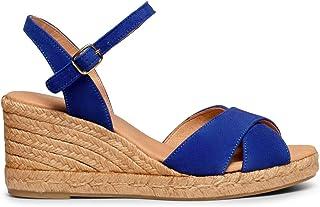 miMaO Chaussures. Espadrilles en Daim Fabriquées en Espagne. Espadrille Compensée à Bride Croisées