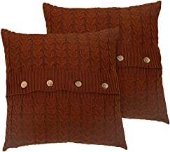 """NuvoLe Home Cotton Knitted Cushion Cover, Soft & Cozy White Decorative Throw Pillow Cover Case for 20""""x 20""""Cushion Insert Pack of 2 Green CUSHION-COVER-P3"""
