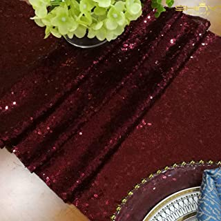 ShinyBeauty Sequin Table Runner Burgundy 12x72-Inch Party Supplies Wine Wedding Table Runner Maroon (30x180cm) -0226S