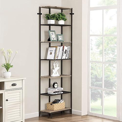 new arrival O&K FURNITURE 7 Tier Tall Corner Bookshelf for Small Spaces, Industrial Narrow Corner Bookcase for Living Room, popular Corner Shelf online Plant Stand, Grey online
