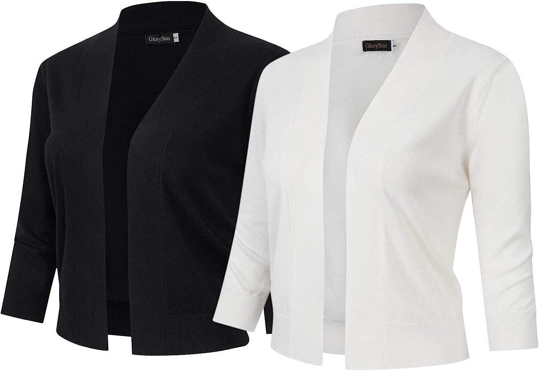 GloryStar Women's Inexpensive 3 half 4 Sleeve Cropped Sweaters Open Cardigan