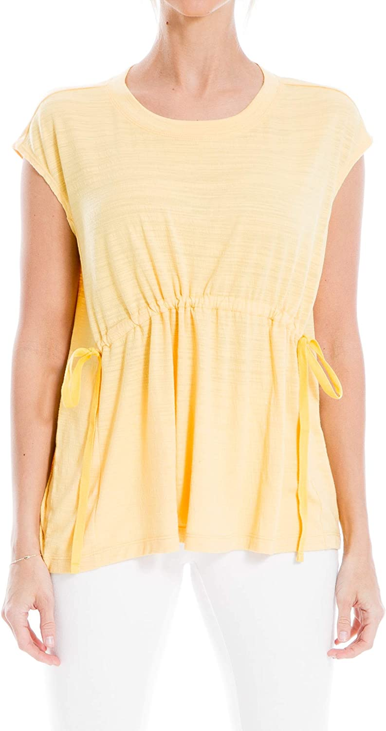 Max Studio Womens Sleeveless Empire Crinkled Knit Casual Top