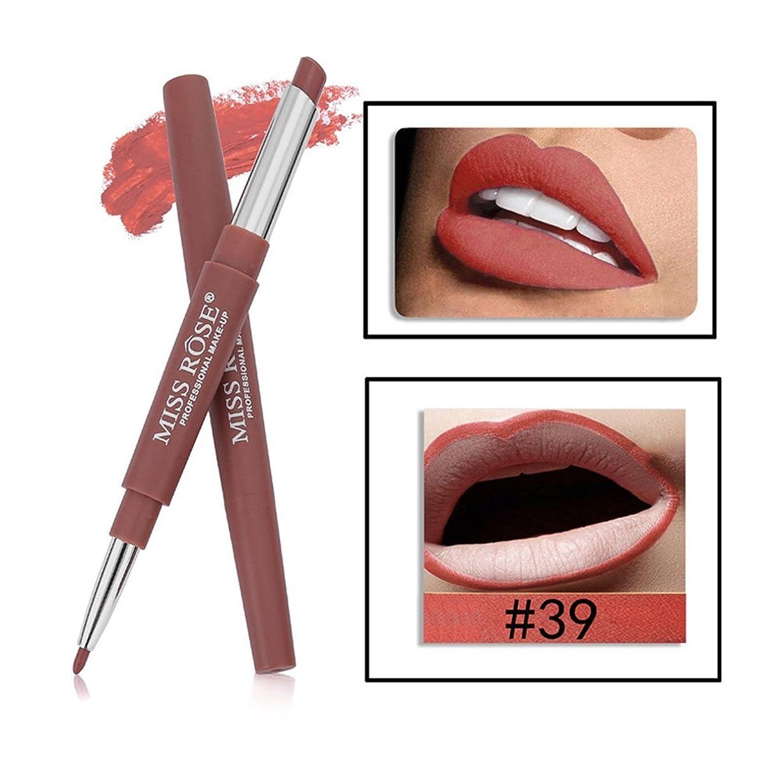 遠近法不従順めんどり口紅ペン BOBOGOJP ダブルヘッド 多機能 リップライナー リップスティックペン 多色選択 リップグロス リップライナースティックペンシル 長続き 防水 リプリナー 恋する唇 メイク道具 おすすめ (02)