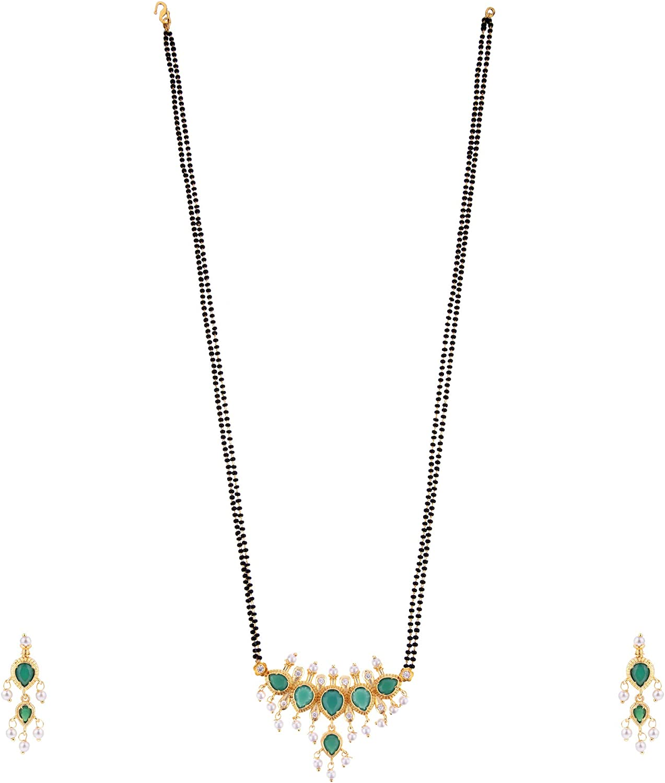 Efulgenz Mangalsutra Indian Traditional Crystal Rhinstone Kundan Gold Plated Pendant Necklace Earring Jewellery Set